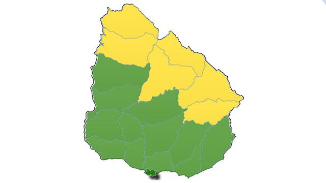 Alerta amarilla por lluvias abundantes para seis departamentos