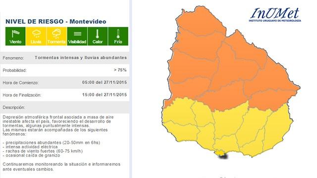 Alerta naranja por tormentas fuertes para el norte, y amarilla para el sur