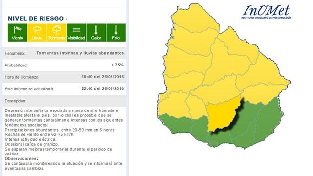 Advertencia de nivel amarillo por tormentas intensas en 12 departamentos