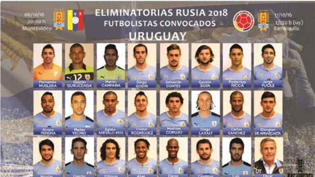 Selección  Uruguaya con Guruceaga y De Arrascaeta, y sin Josema Giménez